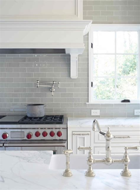 Gray Glass Subway Tile   Transitional   kitchen   L. Kae