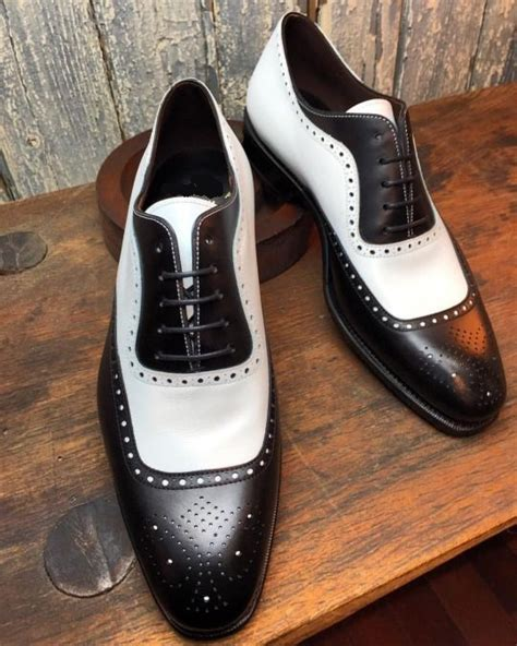 handmade two tone brogue leather shoes black and