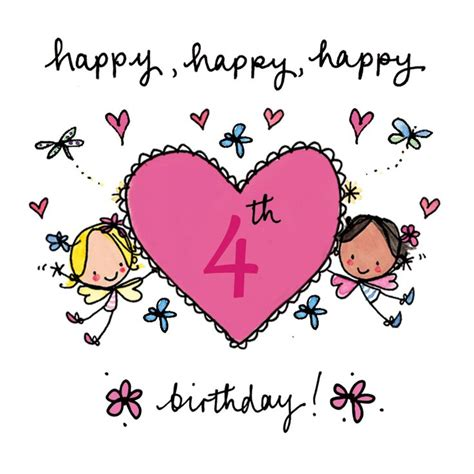 Happy 4th Birthday Wishes To My Happy 4th Birthday Fairy Age Cards Pinterest