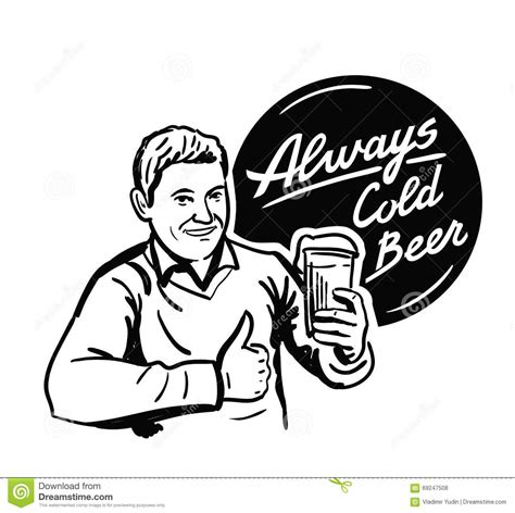 cartoon beer black and white man with beer stock vector image of drink cheers