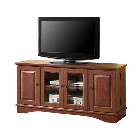 Tv Stand 52 quot brown wood tv stand console