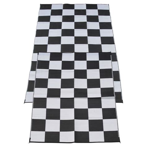 Outdoor Rugs For Cing Fireside Patio Mats Racing Checks Black And White Checkered Flag 6 Ft X 9 Ft Polypropylene
