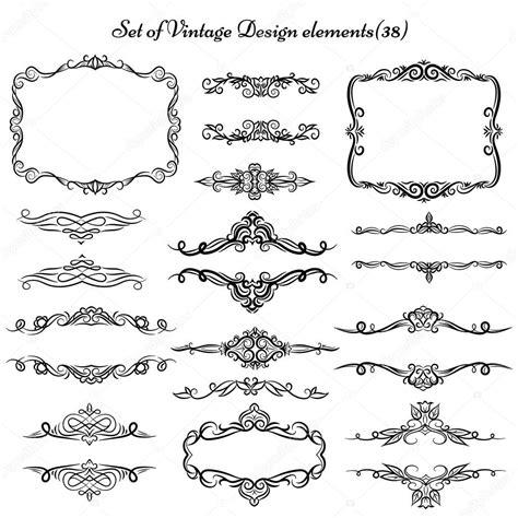 border decorative vintage elements set of decorative vintage elements and borders stock