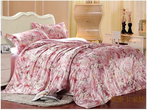 twin size comforter cover pink floralsilk satin bedding set luxury king queen full