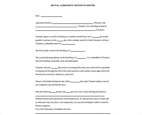 basic agreement template rental agreement template free pdf word documents