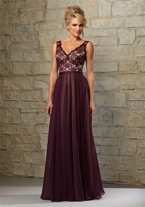 Lace and Chiffon Bridesmaid Dress with Scalloped V