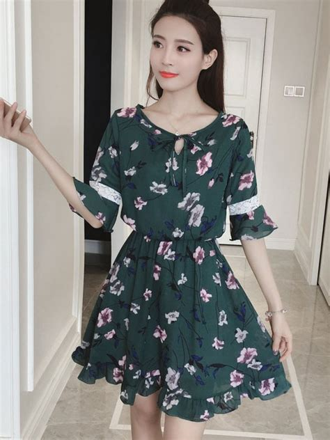 Korean Style Flower Dress plus size chiffon dress ulzzang korean fashion half sleeve floral summer dresses 2018