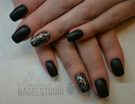 Gelnagels Met Glitter by Mat Zwart Like It Acryl Nagels Mat Zwart Met Glitter By