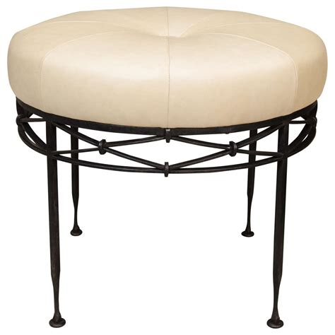 wrought iron ottoman wrought iron and leather ottoman