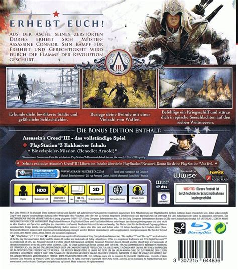 Ps3 Assassins Creed Ii Reg 3 Used Murah assassin s creed iii 2012 wii u box cover mobygames