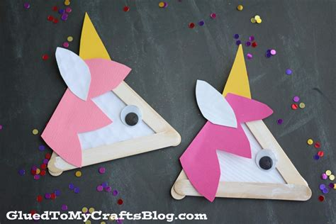 kid and craft popsicle stick unicorns kid craft glued to my crafts