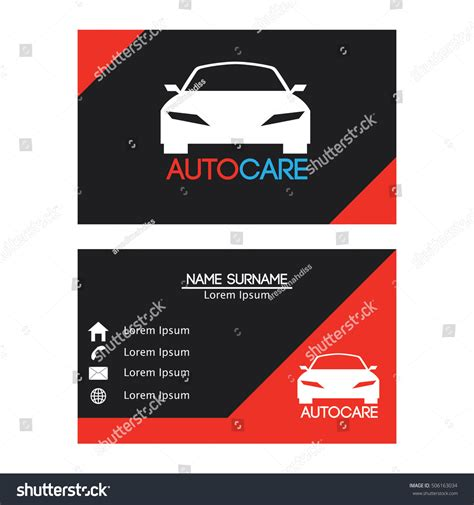 car radar business card template auto car business card design template stock vector