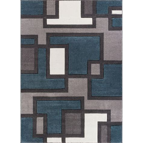 Modern Floor Rug Well Woven Ruby Imagination Squares Blue 5 Ft 3 In X 7 Ft 3 In Modern Area Rug 600965 The