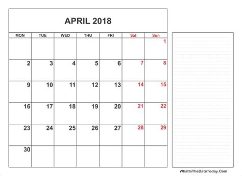 printable calendar 2018 with notes 2018 printable april calendar with notes