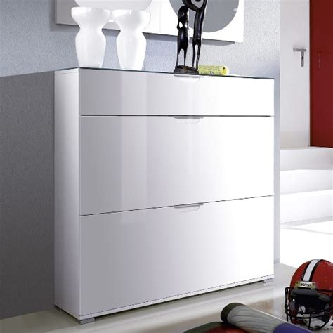 White Shoe Cabinet | california high gloss shoe cabinet in white with grey gloss