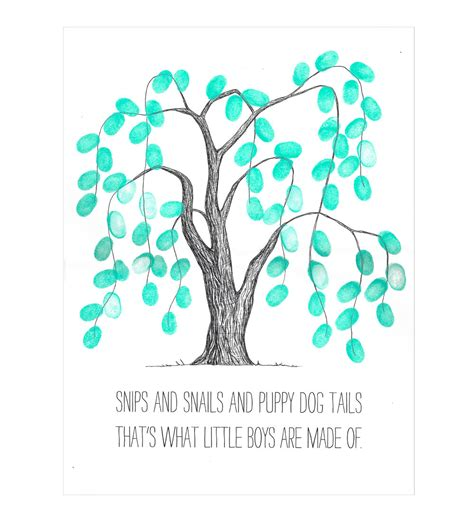 Wedding Quotes Pdf Weeping Willow Thumbprint Tree Guestbook Poster Baby Shower