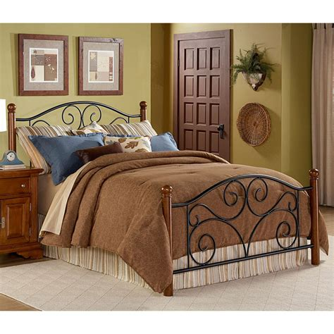 metal and wood bed fashion bed group doral wood metal bed b91277