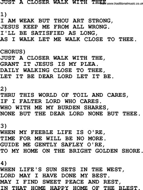 printable lyrics to just a closer walk with thee country southern and bluegrass gospel song just a closer