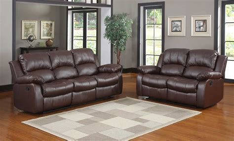 recliner and sofa set 1 509 00 cranley 2pc double reclining sofa set in brown