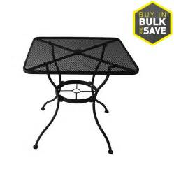 Patio Table L Shop Garden Treasures Davenport 30 In W X 30 In L 4 Seat Square Black Steel Mesh Bistro Patio