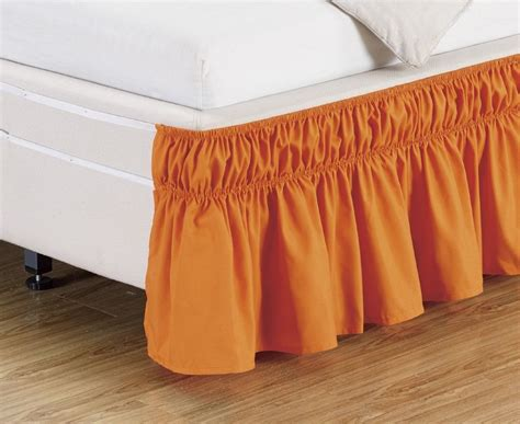 size bed skirt orange ruffled elastic bed skirt fits twin full double