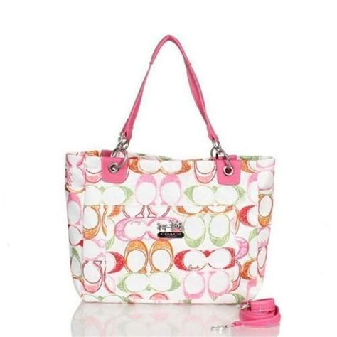 coach poppy  monogram large pink totes bww