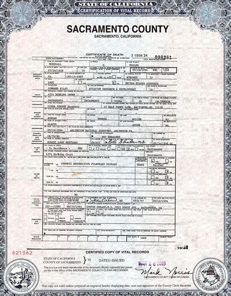 best photos of california death certificate blank death