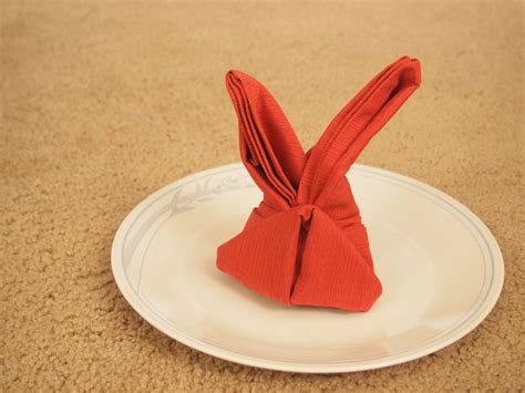 Napkin Origami Animals - how to fold a napkin into a bunny 12 steps with pictures