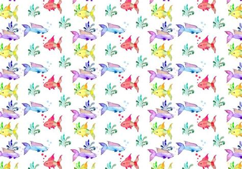 vector watercolor fish patterns download free vector art free summer watercolor vector pattern download free