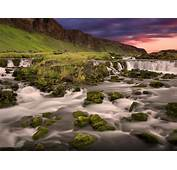 Nature Mountains Iceland Lovely Waterfall Rocks With