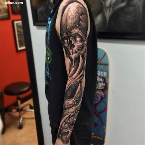 weird 3d alien tattoo on unisex sleeve golfian com