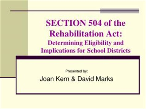 section 504 of the vocational rehabilitation act of 1973 ppt overview of section 504 of the rehabilitation act of