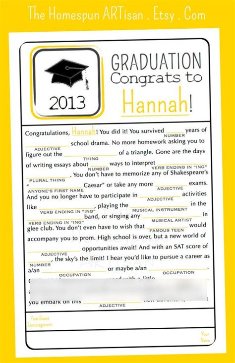 printable games for high school grad libs high school graduation party madlib game