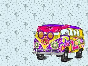 hippie bus ppt backgrounds blue pink purple