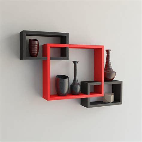 set of 6 floating wall mounted shelves display storage home decor black new ebay usha furniture wall mounted shelf set of 3 floating