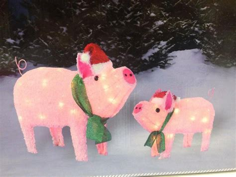 best lighted pig yard art new outdoor prelit pig sculpture lighted yard decor set ebay
