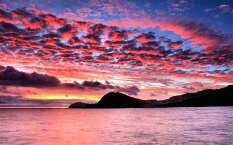 colorful ocean wallpaper beautiful colorful sunset sky above the ocean wallpaper