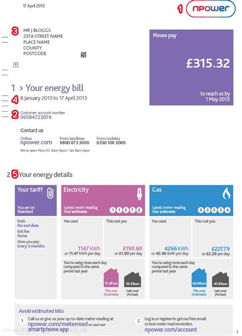 name and number template npower bill explained myutilitygenius