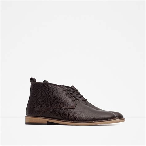 zara boots mens zara leather desert boots in brown for lyst