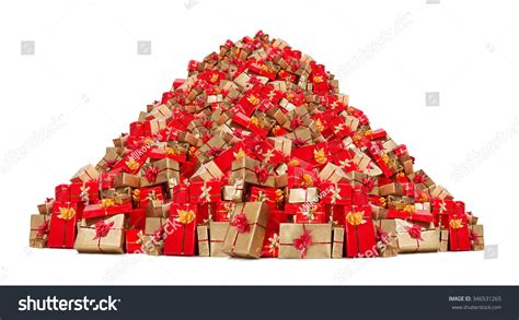 big pile christmas gifts isolated on stock photo 346531265