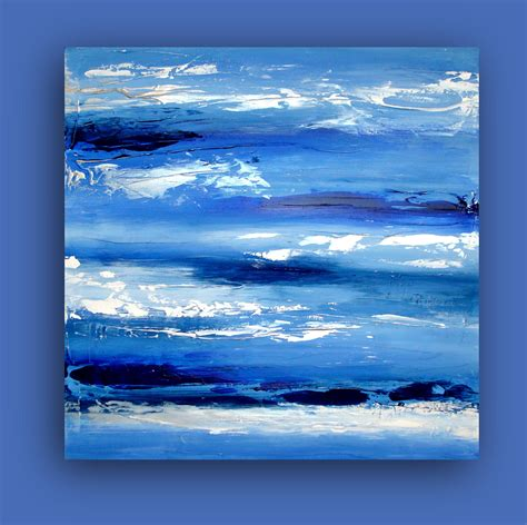 blue and white painting art original modern contemporary blue and white abstract
