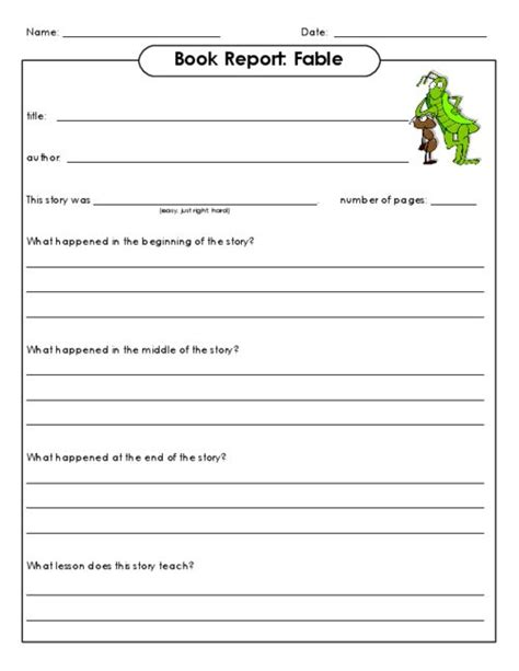 Book Club Worksheets by Book Report Fable Reading Club So And Much