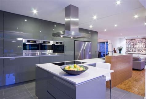 modern interior open kitchens designs with recessed contemporary kitchen cabinets that redefine modern cook room