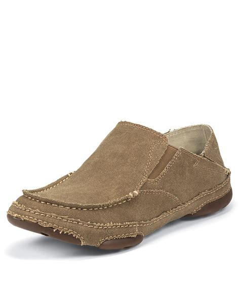tony lama s canvas slip on shoe winter wheat