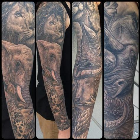 animal tattoo sleeve africa s big 5 tattoos