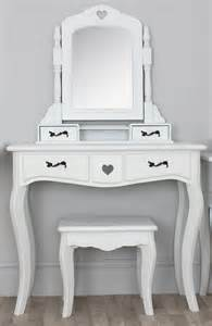 Dressing Vanity Table shabby chic vintage vanity table with three wooden mirror frame with white carved furnishing