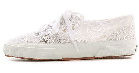 white lace sneakers superga lace sneakers in white lyst
