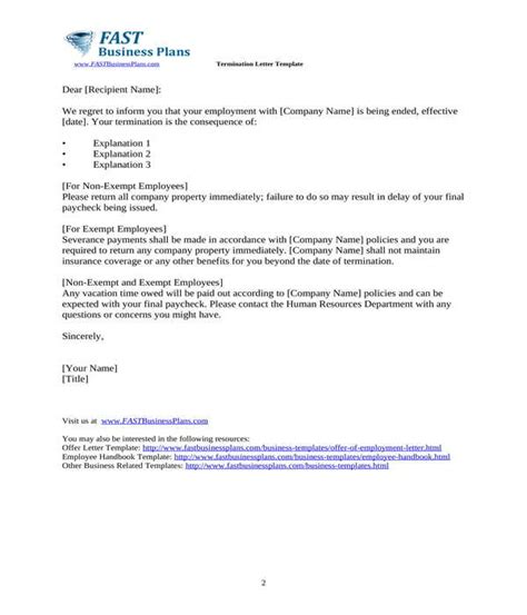 employment termination letter samples ms word