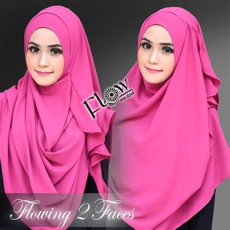 Kerudung Jilbab Flowing 2 Faces Instan As7 jual instan 2 faces flowing by flow idea original toko jilbab branded instan