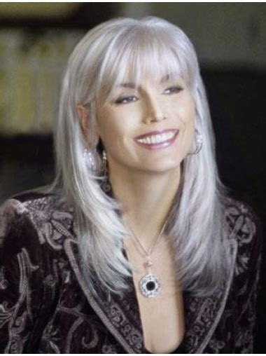 every day high hair for 50 year old high quality long straight fashional grey wigs 100 hand